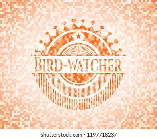 Bird-watcher abstract orange mosaic emblem