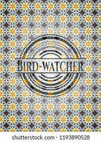 Bird-watcher arabesque emblem background. arabic decoration.