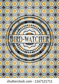 Bird-watcher arabesque style emblem. arabic decoration.