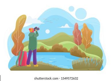 Birdwatcher with binoculars flat vector illustration. Nature lover cartoon character. Man looking at landscape in autumn day. Birdwatching, wildlife observation, birding. River, forest, lake