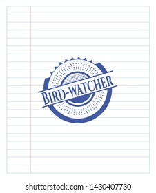 Bird-watcher drawn with pen strokes. Blue ink. Vector Illustration. Detailed.