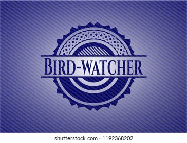 Bird-watcher emblem with jean texture