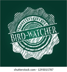 Bird-watcher on blackboard