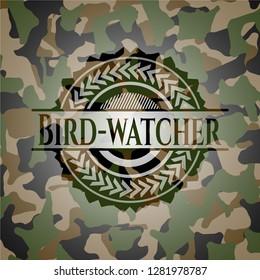 Bird-watcher on camouflage texture
