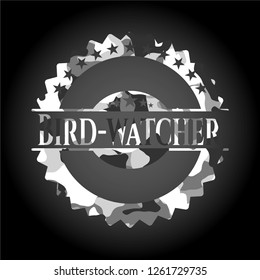 Bird-watcher on grey camo pattern