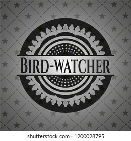 Bird-watcher realistic dark emblem