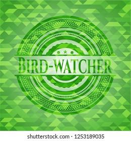 Bird-watcher realistic green mosaic emblem
