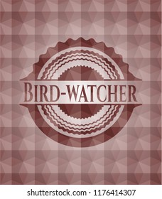 Bird-watcher red badge with geometric background. Seamless.