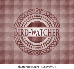 Bird-watcher red seamless geometric pattern emblem. Seamless.