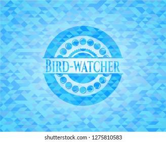 Bird-watcher sky blue emblem with triangle mosaic background