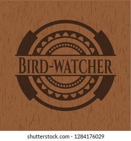 Bird-watcher wooden emblem. Retro