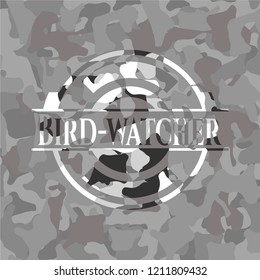 Bird-watcher written on a grey camouflage texture
