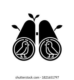 Birdwatching black glyph icon. Birds observation hobby, recreational activity. Wildlife tourism, ornithology, zoology study silhouette symbol on white space. Binoculars vector isolated illustration