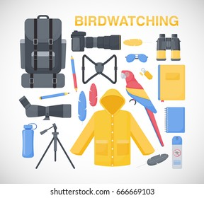 Birdwatching flat vector icons set, big set of flat design birding travel, hobby and adventure objects isolated on the white background, vector illustration
