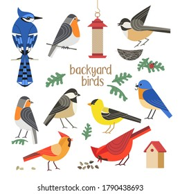 Birdwatching icon vector set. Red Northern cardinal, robin chickadee, blue bird, goldfinch comic flat cartoon illustration. Garden backyard birds sign. Minimal simple design. Wildlife banner element