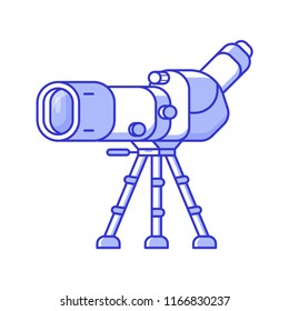 Birdwatching monocular in line art. Travel spotting scope on tripod icon. Birding telescope for watching birds and wildlife in flat design.