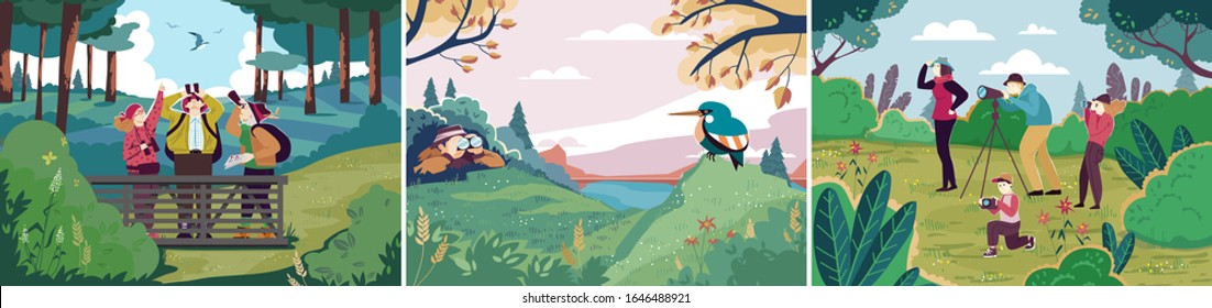 Birdwatching in nature, people outdoor hobby, ornithology bird observation, vector illustration. People watching birds in nature, outdoor activity for friends and family. Recreation leisure hiking