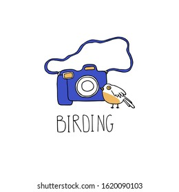 Birdwatching and ornithology concept. Bird watching icon, logo, emblem. Birding vector illustration with birdwatcher camera and a cute cartoon bird in doodle style