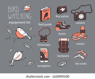 Birdwatching and ornithology concept. Cute birds sitting on branch. Cartoon vector illustration with birdwatcher equipment checklist. Guide, camera, backpack, snack, boots, first aid kit, navigation