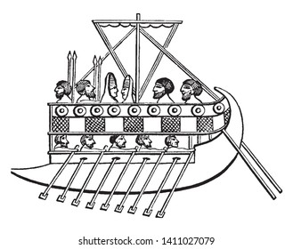 Bireme is an ancient oared warship with two decks of oars, vintage line drawing or engraving illustration.