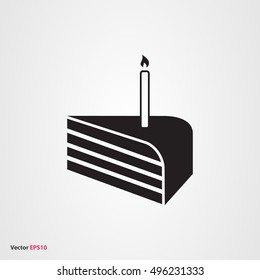 Birhtday cake vector icon with candle