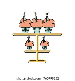 birhtday cupcakes candles on tiered platter decoration