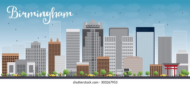 Birmingham (Alabama) Skyline with Grey Buildings and Blue Sky. Vector Illustration. Business travel and tourism concept. Image for presentation, banner, placard and web site