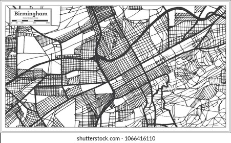 Birmingham Alabama USA City Map in Retro Style. Outline Map. Vector Illustration.