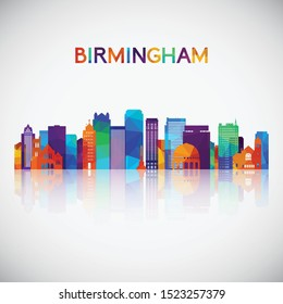 Birmingham, Alabama USA skyline silhouette in colorful geometric style. Symbol for your design. Vector illustration.