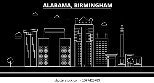 Birmingham silhouette skyline. USA - Birmingham vector city, american linear architecture, buildings. Birmingham travel illustration, outline landmarks. USA flat icon, american line banner