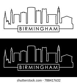 Birmingham skyline. Linear style. Editable vector file.