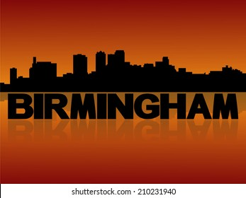 Birmingham skyline reflected with text and sunset vector illustration