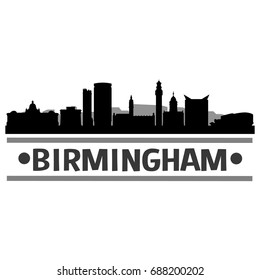 Birmingham Skyline Silhouette City Vector Design Art