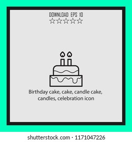 Birtday cake, candle cake, celebration icon  vector icon