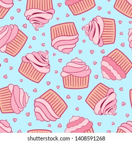 Birtday cupcakes seamless pattern. Cute pink cupcakes set. Pink cupcakes with hearts isolated on blue background.