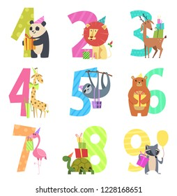 Birtday numbers animals. Party fun invitation for kids celebration characters animals of wildlife zoo vector cartoon mascots