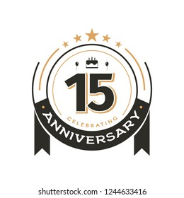 Birtday vintage logo template to 15 th anniversary circle retro isolated vector emblem. Fifteen years old badge on white background