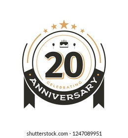 Birtday vintage logo template to 20 th anniversary circle retro isolated vector emblem. Twenty years old badge on white background