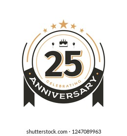 Birtday vintage logo template to 25 th anniversary circle retro isolated vector emblem. Twenty-five years old badge on white background