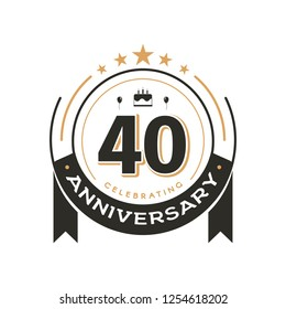 Birtday vintage logo template to 40 th anniversary circle retro isolated vector emblem. Forty years old badge on white background