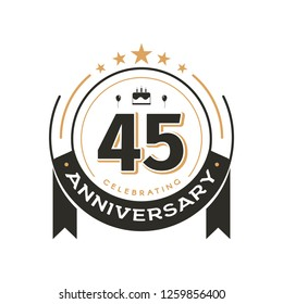 Birtday vintage logo template to 45 th anniversary circle retro isolated vector emblem. Forty-five years old badge on white background