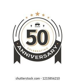 Birtday vintage logo template to 50th anniversary circle retro isolated vector emblem. Fifty years old badge on white background