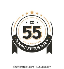 Birtday vintage logo template to 55 th anniversary circle retro isolated vector emblem. Fifty-five years old badge on white background