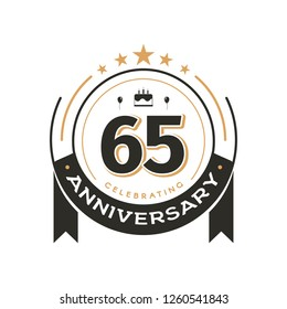 Birtday vintage logo template to 65 th anniversary circle retro isolated vector emblem. Sixty-five years old badge on white background