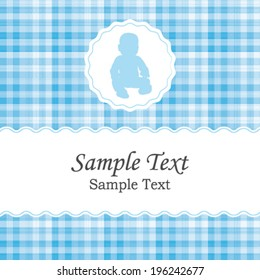 Birth announcement or baby shower vector invitation card for a newborn boy. Beautiful white and blue gingham fabric pattern.