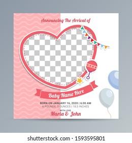 Birth Announcement Template design, Newborn baby announcement greeting card