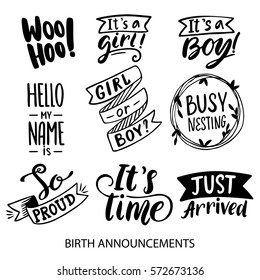 Birth Announcements lettering collection