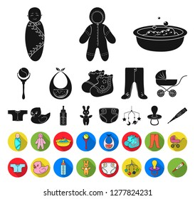 Birth of a baby black,flat icons in set collection for design. Newborn and accessories vector symbol stock web illustration.