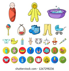 Birth of a baby cartoon,flat icons in set collection for design. Newborn and accessories vector symbol stock web illustration.