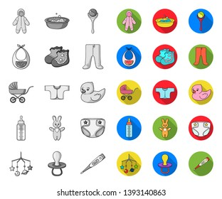 Birth of a baby mono,flat icons in set collection for design. Newborn and accessories vector symbol stock web illustration.